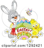 Clipart Of A Gray Easter Bunny Chick And Butterly With A Happy Easter Greeting Egg Royalty Free Vector Illustration