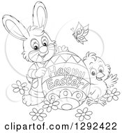 Clipart Of A Black And White Easter Bunny Chick And Butterly With A Happy Easter Greeting Egg Royalty Free Vector Illustration