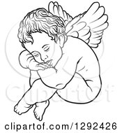 Clipart Of A Black And White Nude Angel Resting His Head On His Knees Royalty Free Vector Illustration