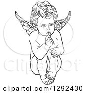 Clipart Of A Black And White Angel Shushing Royalty Free Vector Illustration