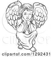 Clipart Of A Black And White Angel Sitting With His Chin In His Hands Royalty Free Vector Illustration