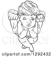 Clipart Of A Black And White Boy Angel Sitting With His Chin In His Hands Royalty Free Vector Illustration by dero