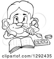 Clipart Of A Black And White Cartoon Artist Boy Thinking Over An Open Book Royalty Free Vector Illustration by dero