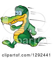 Clipart Of A Cartoon Sweaty Crocodile Running Royalty Free Vector Illustration by dero