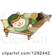 Clipart Of A Cartoon Tired Dwarf Sleeping Royalty Free Vector Illustration by dero