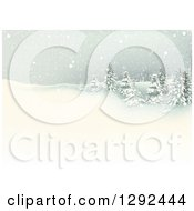 Clipart Of A Snowy Winter Landscape With Flocked Evergreen Trees On A Hill Royalty Free Vector Illustration by dero