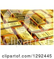 Clipart Of A 3d Background Of Gold Bars Royalty Free Illustration