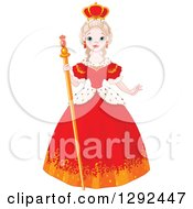 Clipart Of A Pretty And Friendly Blond Caucasian Queen In A Red Dress Royalty Free Vector Illustration by Pushkin