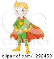 Clipart Of A Blond White Happy Super Hero Boy In A Green And Orange Costume Royalty Free Vector Illustration