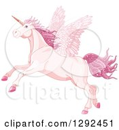 Clipart Of A Rearing Pink Winged Fairy Unicorn Pegasus Horse With Magical Sparkly Hair Royalty Free Vector Illustration
