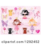 Poster, Art Print Of Fairy Princess Girls Cats Butterflies And Candy Over Pink Polka Dots