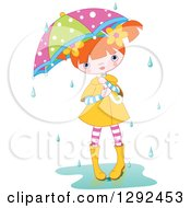 Red Haired White Girl With A Colorful Umbrella Standing In A Puddle In The Rain