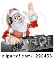 Clipart Of A Happy Santa Claus Dj Mixing Christmas Music On A Turntable Royalty Free Vector Illustration