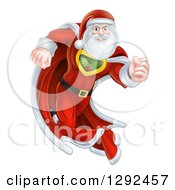 Clipart Of A Super Hero Santa Claus Running In A Christmas Suit Royalty Free Vector Illustration