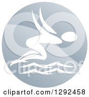 Clipart Of A White Swimmer Diving In A Circle Royalty Free Vector Illustration