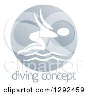 Clipart Of A White Swimmer Diving In A Circle Over Sample Text Royalty Free Vector Illustration by AtStockIllustration