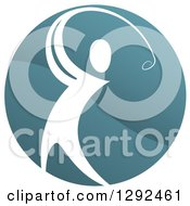 Clipart Of A White Man Golfing In A Teal Circle Royalty Free Vector Illustration
