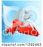 Clipart Of A 3d Silver Businessman Running On A Red Arrow Off Of A Chart On Blue Royalty Free Vector Illustration