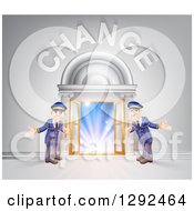 Clipart Of Welcoming Door Men At An Entry Under Change Text Royalty Free Vector Illustration by AtStockIllustration