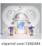 Welcoming Door Men At An Entry Under Change Text