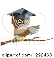 Clipart Of A Perched Professor Owl Presenting With His Wings From A Tree Branch Royalty Free Vector Illustration by AtStockIllustration