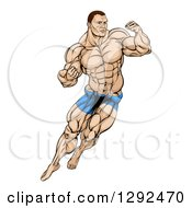 Clipart Of A Muscular White Male MMA Wrestler Or Fighter In Action Royalty Free Vector Illustration