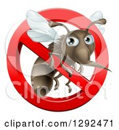 Clipart Of A Mosquito Trapped In A Prohibited Symbol Royalty Free Vector Illustration by AtStockIllustration