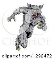 Clipart Of A Vicious Gray Muscular Wolf Man Sprinting Royalty Free Vector Illustration