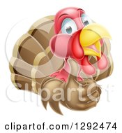 Clipart Of A Happy Turkey Bird Holding Up A Thumb Royalty Free Vector Illustration by AtStockIllustration