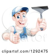 Clipart Of A Happy Middle Aged Brunette Caucasian Window Cleaner Man Holding A Squeegee And A Thumb Up Royalty Free Vector Illustration by AtStockIllustration
