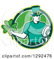 Clipart Of A Retro Irish Rugby Player With A Ball And Shamrock In A Green And White Circle Royalty Free Vector Illustration by patrimonio