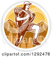 Clipart Of A Retro Woodcut Female Hiker Over Mountains And Sunshine In A Circle Royalty Free Vector Illustration by patrimonio