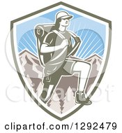 Retro Woodcut Female Hiker Over Mountains And Sunshine In A Shield