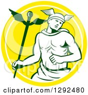 Clipart Of A Retro Hermes With A Caduceus In A Yellow And White Circle Royalty Free Vector Illustration by patrimonio