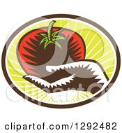 Retro Woodcut Hand Holding A Plump Tomato In A Brown White And Green Sunshine Oval