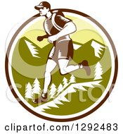 Clipart Of A Retro Woodcut Male Cross Country Runner Over Mountains In A Brown White And Green Circle Royalty Free Vector Illustration