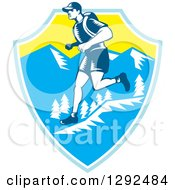 Clipart Of A Retro Woodcut Male Cross Country Runner Over Mountains In A Blue White And Yellow Shield Royalty Free Vector Illustration