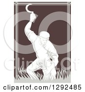 Clipart Of A Retro Woodcut Male Farmer Harvesting Wheat With A Scythe In Brown And Gray Royalty Free Vector Illustration