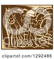 Clipart Of A Retro Woodcut Horse And Farmer Plowing A Field In Tan And Brown Royalty Free Vector Illustration