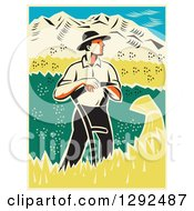 Retro Woodcut Male Farmer Standing And Resting On A Scythe In A Wheat Crop