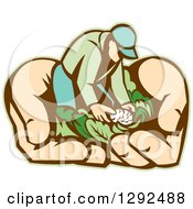 Clipart Of A Retro Cartoon Male Gardener With Vegetables In Giant Hands Royalty Free Vector Illustration by patrimonio