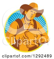 Clipart Of A Retro Male Farmer Holding A Piglet In A Yellow White And Blue Circle Of Rays Royalty Free Vector Illustration