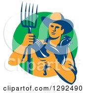 Retro Male Farmer Holding A Hen And Pitchfork Over A Green Circle