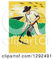 Clipart Of A Retro Male Famer Using A Scythe And Harvesting A Crop Royalty Free Vector Illustration