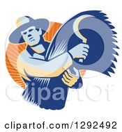 Clipart Of A Retro Male Farmer Holding A Scythe And Harvested Wheat In An Orange Circle Of Sunshine Royalty Free Vector Illustration by patrimonio