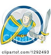 Clipart Of A Cartoon Male Knight In Armor Holding A Sword And Shield And Emerging From A Blue White And Gray Circle Royalty Free Vector Illustration
