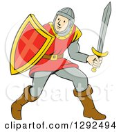 Clipart Of A Cartoon Male Knight In Armor Holding A Sword And Shield Royalty Free Vector Illustration