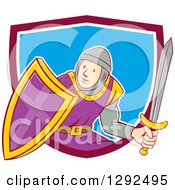 Clipart Of A Cartoon Male Knight In Armor Holding A Sword And Shield And Emerging From A Maroon White And Blue Shield Royalty Free Vector Illustration