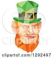 Clipart Of A Geometric Red Haired St Patricks Day Leprechaun Face Royalty Free Vector Illustration by patrimonio
