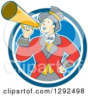 Clipart Of A Retro Cartoon White Male Circus Ringmaster Announcing Through A Bullhorn In A Blue And White Circle Royalty Free Vector Illustration by patrimonio
